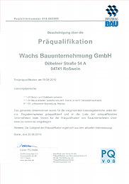 Präqualifikationzertifikat pq vob 2015
