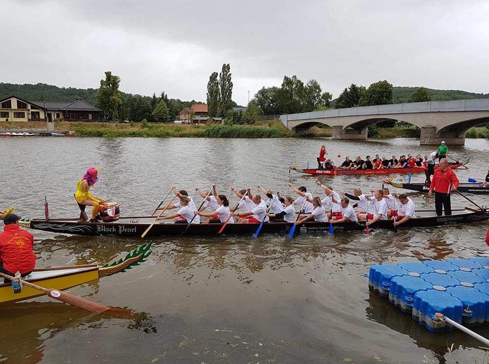 Drachenbootrennen in Döbeln - Hausbau Firma Wachs Bauunternehmung GmbH am Start