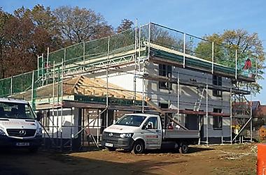 Baustelle besichtigen und über Hausbau informieren.